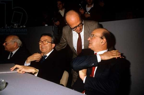 Bettino Craxi and Giulio Andreotti smiling