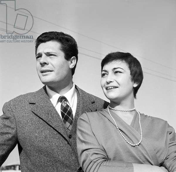 Marcello Mastroianni with his wife Flora Carabella, Italy, 1955 (b/w photo)