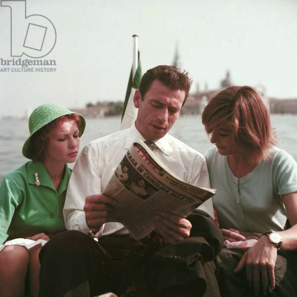 Artists Francoise Arnoul, Yves Montand, Anouk Aimee, 1955 (photo)