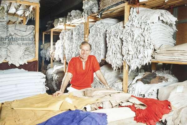 Nicola Trussardi in a fabric warehouse, Italy