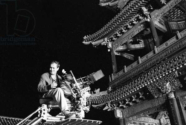 Bernardo Bertolucci in The Last Emperor, China, 1987 (b/w photo)