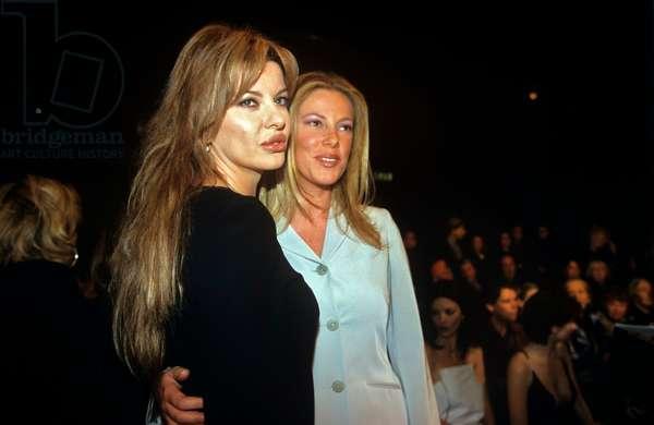 Alba Parietti and Alessia Marcuzzi at the Krizia fashion show, Milan, Italy