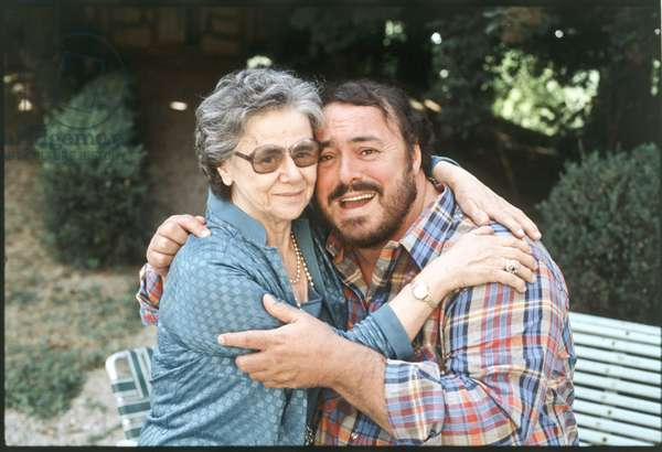 Luciano Pavarotti hugging his mother, Italy