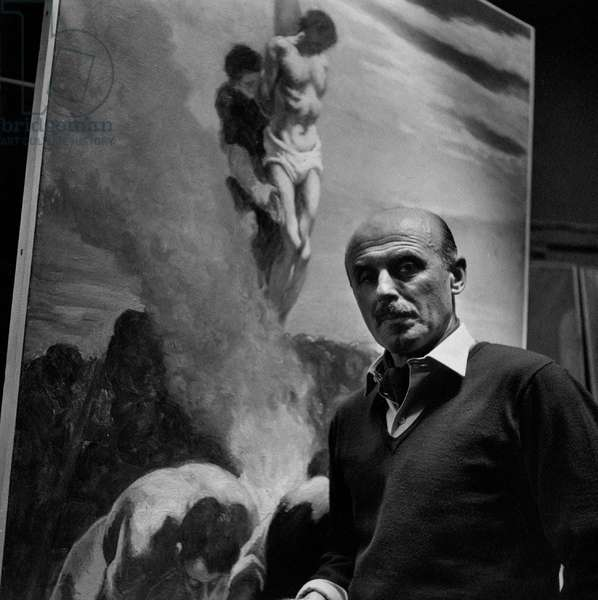 Gregorio Calvi di Bergolo in front of a large size painting, Italy
