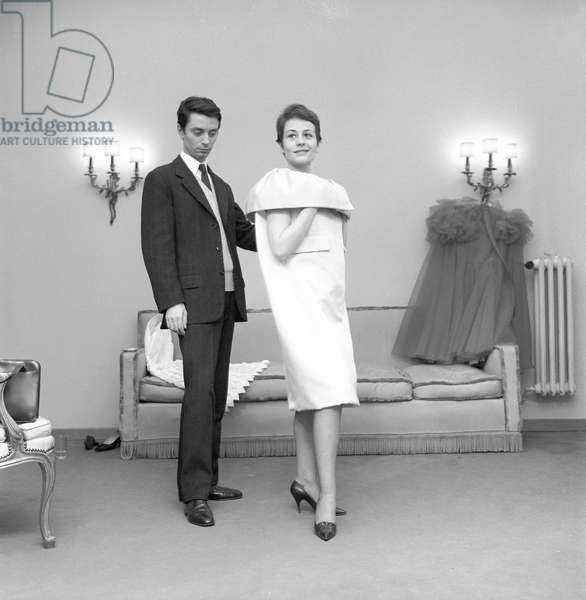 Annie Girardot posing in a Pino Lancetti's dress, 1962 (b/w photo)