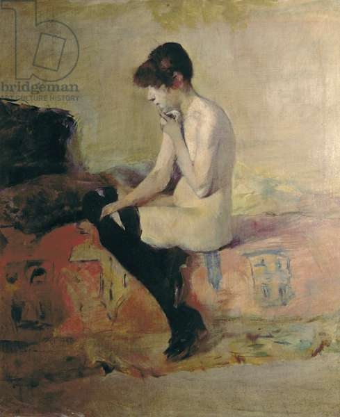 Naked Woman Sitting on a Couch (Etude de nu. Femme assise sur un divan), by Henri de Toulouse-Lautrec, 1882, 19th Century, oil on canvas, 55 x 46 cm