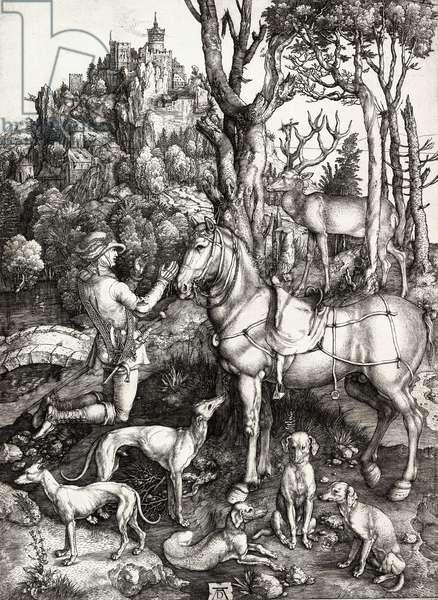 Saint Eustace, by Albrecht Durer, 1501, 16th Century (engraving on laid paper)