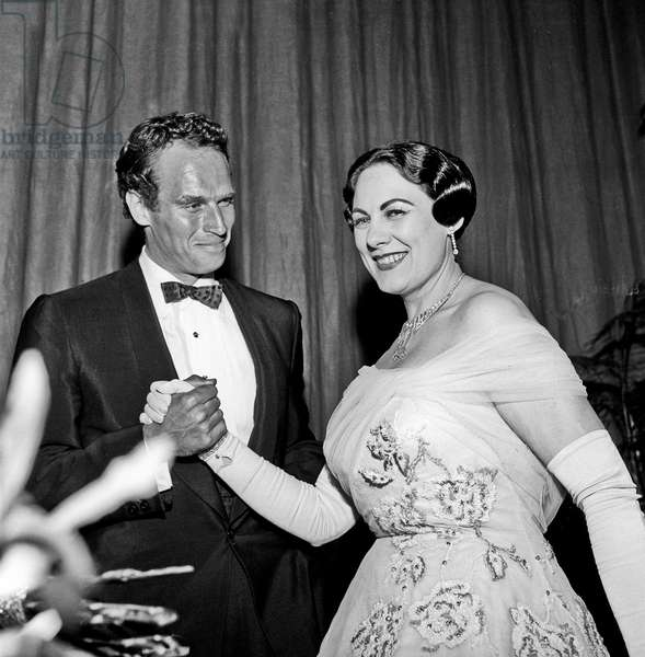 Renata Tebaldi after her concert with Charlton Heston, Rome, Italy, 1958 (b/w photo)