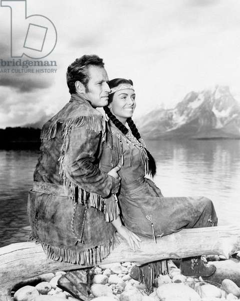 Charlton Heston and Donna Reed in 'The far horizons'