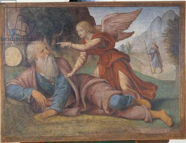 Elijah Awakened By Angel (Elia svegliato dall'angelo), by Bernardino Luini, 1520-1521, 16th Century (fresco) on canvas, 112 x 152 cm