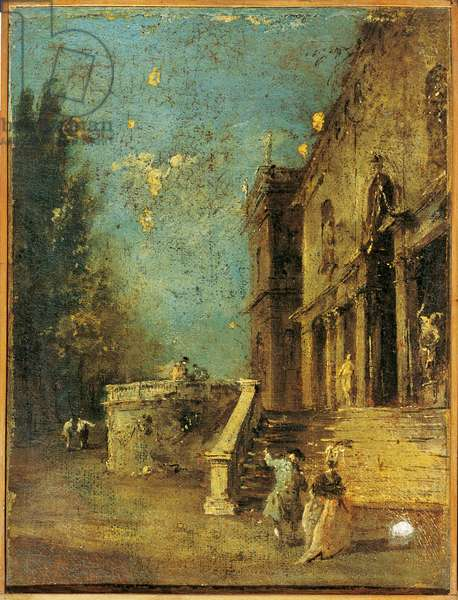 Architectural Capriccio with an Atrium of a Villa, Workshop of Francesco Guardi, 18th Century, oil on canvas