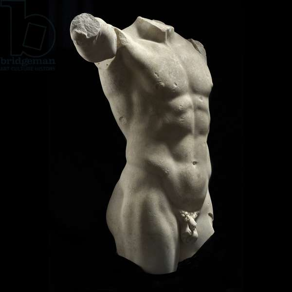 Standing Bust of a Naked Man, 1st Century b.C., white marble, 90 cm