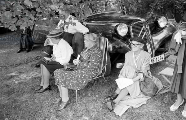 Eldery women listening to a sermon by Billy Graham in Geneva, Geneva, Switzerland