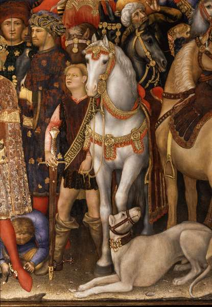 Adoration of the Magi detail of horses and dog, 1423 (tempera on panel)