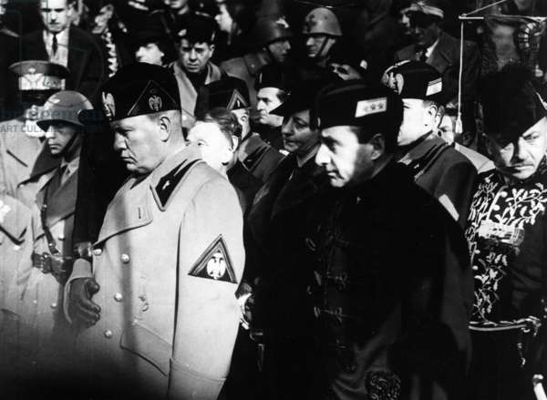 Mussolini and Starace at the funeral of Gabriele D'Annunzio