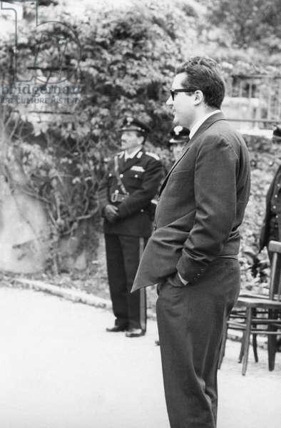 Guido Gerosa in Sotto il Monte, Italy, 1962 (b/w photo)