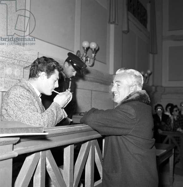 Marcello Mastroianni and Vittorio De Sica on the set of the film The Bigamist, Italy, 1955 (b/w photo)