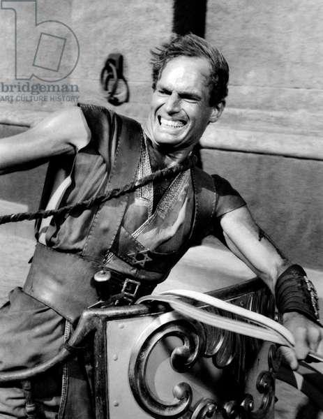 Charlton Heston in the scene of the bigae race