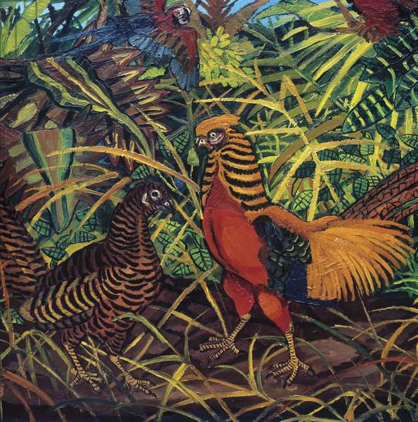 Wood with Pheasant and Parrots, 1960-61 (oil on canvas)