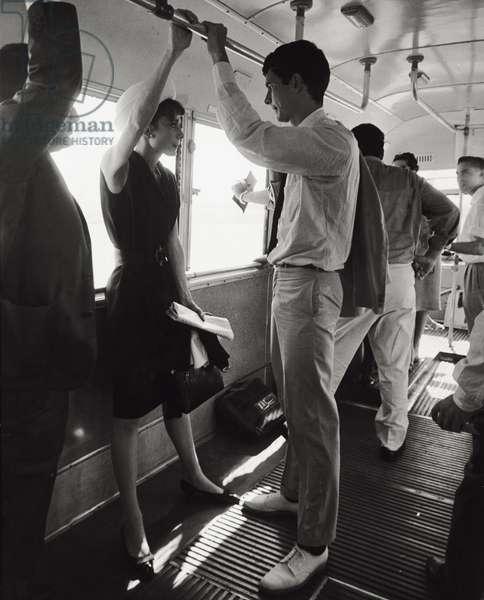 Anthony Perkins with Audrey Hepburn (b/w photo)