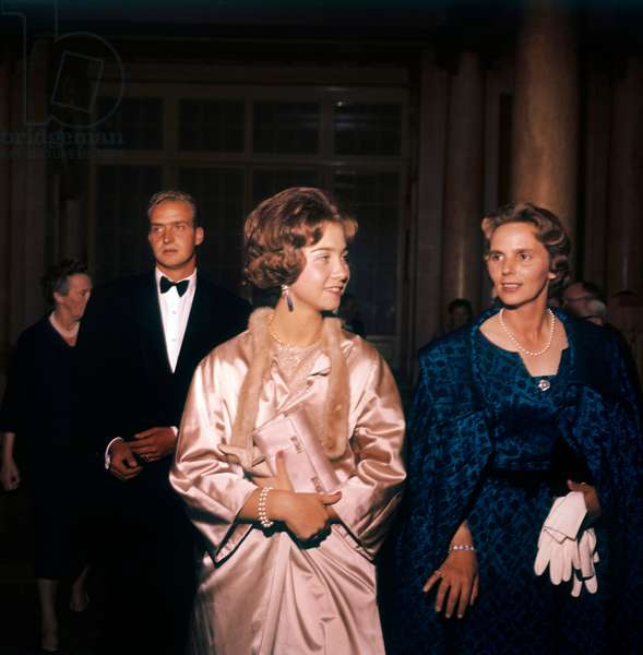 Princess Sophia of Greece and Prince Juan Carlos of Spain in elegant evening dress, Lausanne, Switzerland, September 1961 (photo)