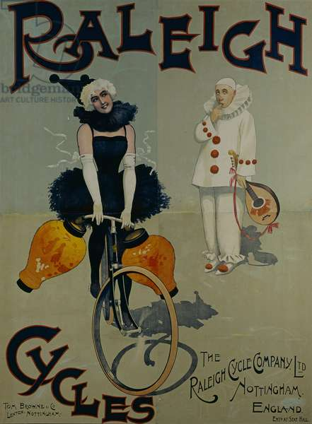 Raleigh Bicycles Advertising Poster (Manifesto pubblicitario per le biciclette Raleigh), c. 1920, 20th Century, drawing