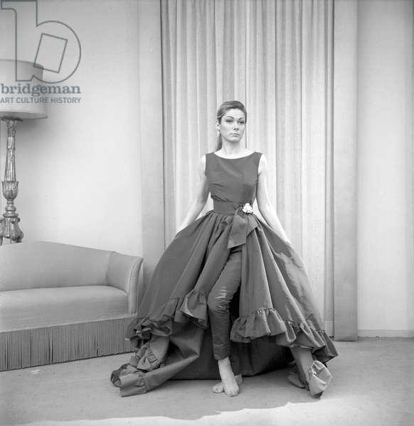 "Danica ""Denise"" Radosavljevic posing in a Roberto Capucci's dress, 1962 (b/w photo)"