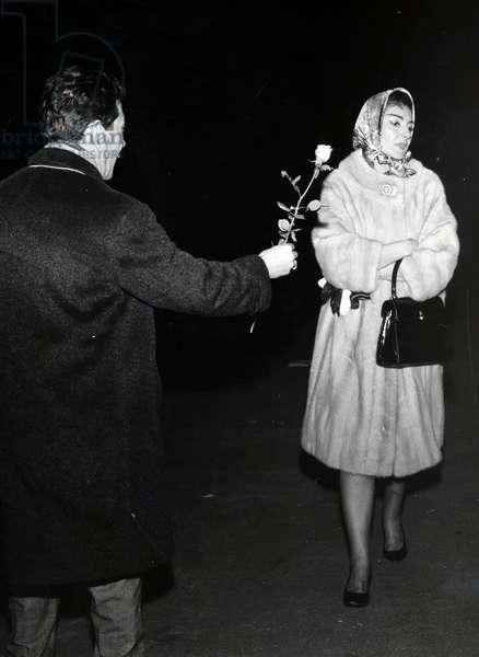 Maria Callas outside La Scala, Italy, 1961 (b/w photo)