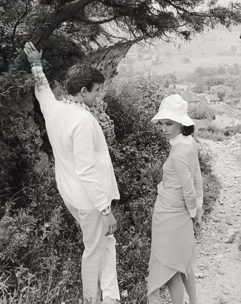 Audrey Hepburn and Albert Finney in 'Two for the Road' (b/w photo)