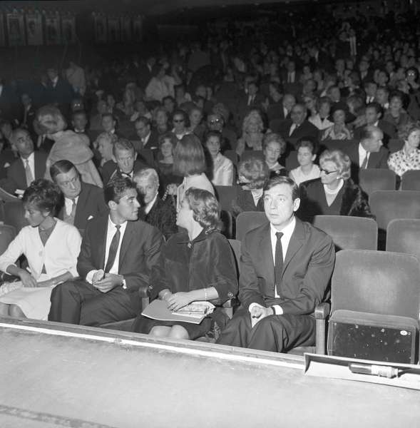 Yves Montand and Simone Signoret at the concert of Edith Piaf, Paris, France, 1962 (b/w photo)
