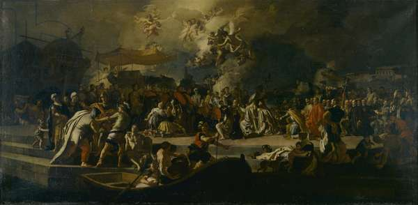 The Arrival of Saint John the Baptist's ashes at Genoa (L'arrivo delle ceneri di Giovanni Battista a Genova), by Francesco Solimena, 1747, 18th Century, oil on canvas