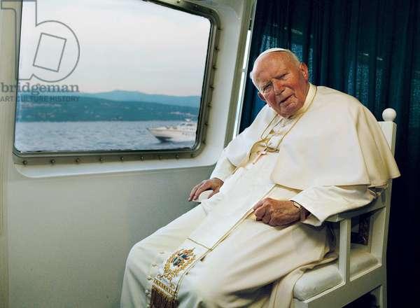 Pope John Paul II travelling on board a catamaran, Croatia