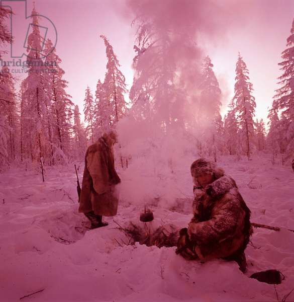 Walter Bonatti and Brunello Vandano during the expedition in the frost of Siberia, Russian Federation