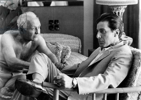 Lee Strasberg and Al Pacino in the movie The Godfather, Part II