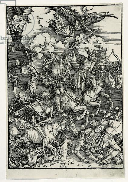 The Four Horsemen of the Apocalypse (Die vier apokalyptischen Reiter), by Albrecht Durer, 1497, 15th Century, xylograohy
