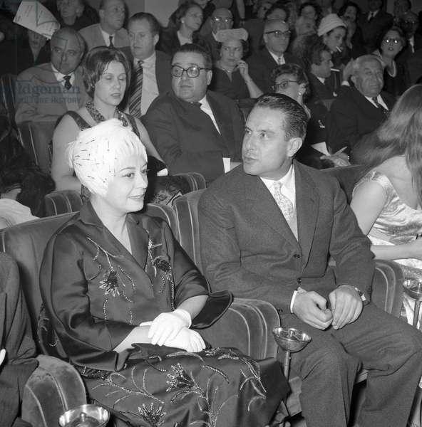 Giulietta Masina and Renato Castellani at the gala night for the film ...and the Wild Wild Women, Italy, 1959 (b/w photo)