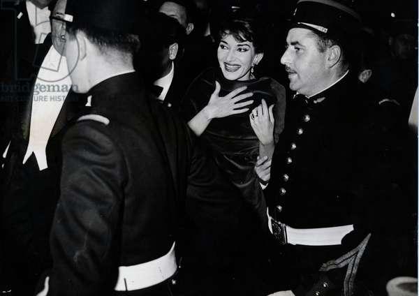 Maria Callas in Paris, France, 1950 (b/w photo)