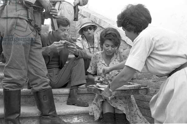 Sophia Loren with Jean-Paul Belmondo, 1960 (b/w photo)