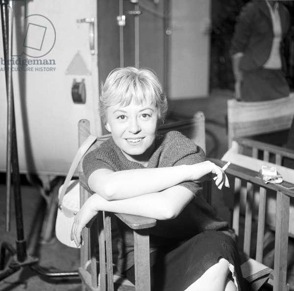 Giulietta Masina on the set of the film Fortunella, Italy, 1957 (b/w photo)