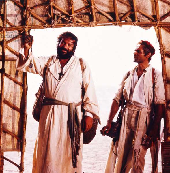 Italian actors Bud Spencer and Terence Hill in the film Turn the Other Cheek, Italy, 1974 (photo)