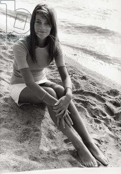 Francoise Hardy on the set of the film 'Grand Prix', 1966 (b/w photo)