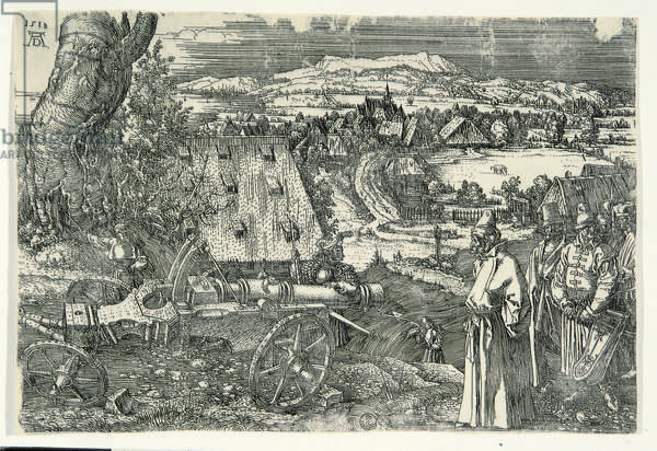 Landscape with cannon (Landschaft mit kanone), by Albrecht Durer, 1518, 16th Century (etching on iron)