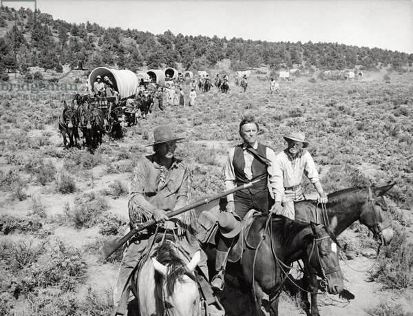 Group scene in the western movie 'The Way West' (b/w photo)