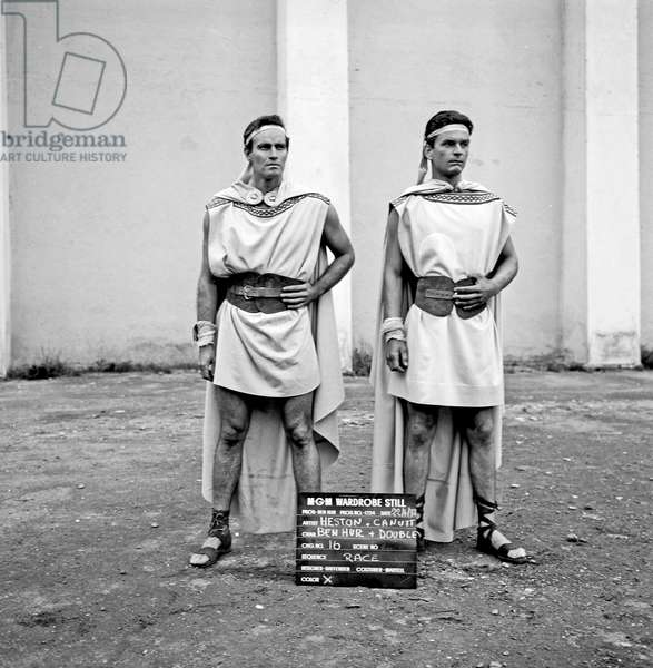 Charlton Heston and Joe Canutt on the movie set of Ben Hur, Rome, Italy, 1958 (b/w photo)