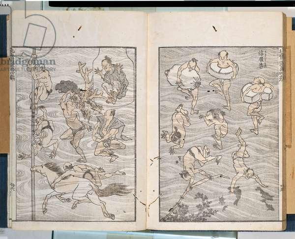Lifebuoys, by Katsushika Nakajima known as Hokusai, 1816, 19th Century, xylograph
