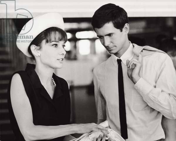 Audrey Hepburn and Anthony Perkins (b/w photo)