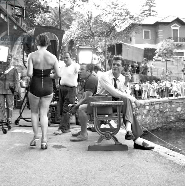 Marcello Mastroianni on the set of Love on the Riviera, Italy, 1958 (b/w photo)