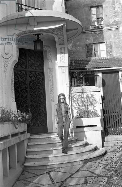 Dalida outside her house, France, 1970 (b/w photo)