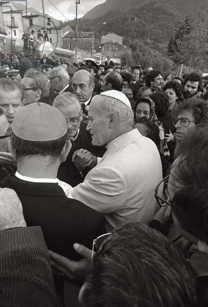 Pope John Paul II among a crowd of people