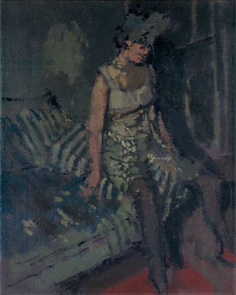 A dancer in a green dress, 1916 (oil on canvas)